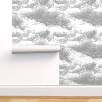 Spoonflower Peel And Stick Removable Wallpaper Grey Clouds Clouds Storm Clouds Clouds Stormy Cloud Print Self Adhesive Wallpaper 12in X 24in Test Swatch Amazon Com