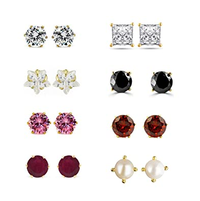 793aecc5d Buy Archi Collection Jewellery Combo of Gold Plated Solitaire Stud Earrings  for Girls and Women Online at Low Prices in India