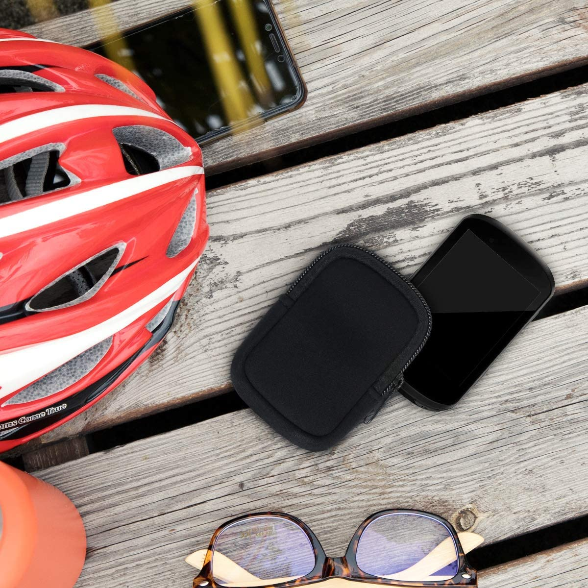 Protective Zippered Pouch Holder for Bike GPS kwmobile Case Compatible with Garmin Edge 530//830 Black