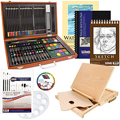 US Art Supply 82 Piece Deluxe Art Creativity Set in Wooden Case, Wood Desk Easel and Bonus 20 Additional Pieces - Deluxe Art Set: Arts, Crafts & Sewing
