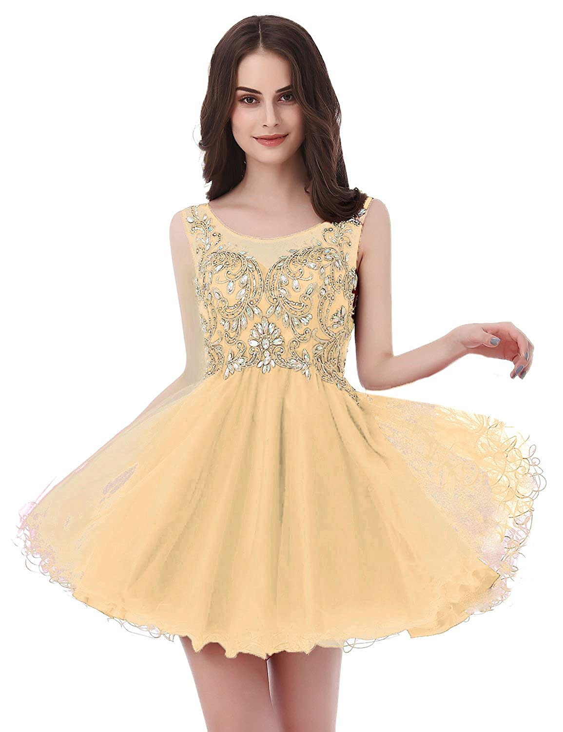 142champagne Sarahbridal Women's Short Tulle Beading Homecoming Dresses 2019 Prom Party Gowns