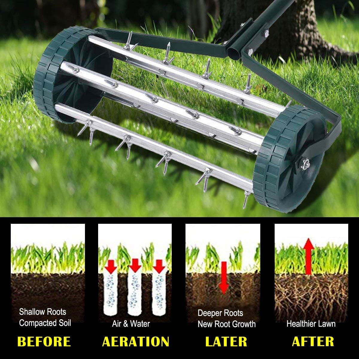 A BRAND NEW kind of LAWN AERATING machine..the..AMICK  ROLL-AERATOR..easiest!