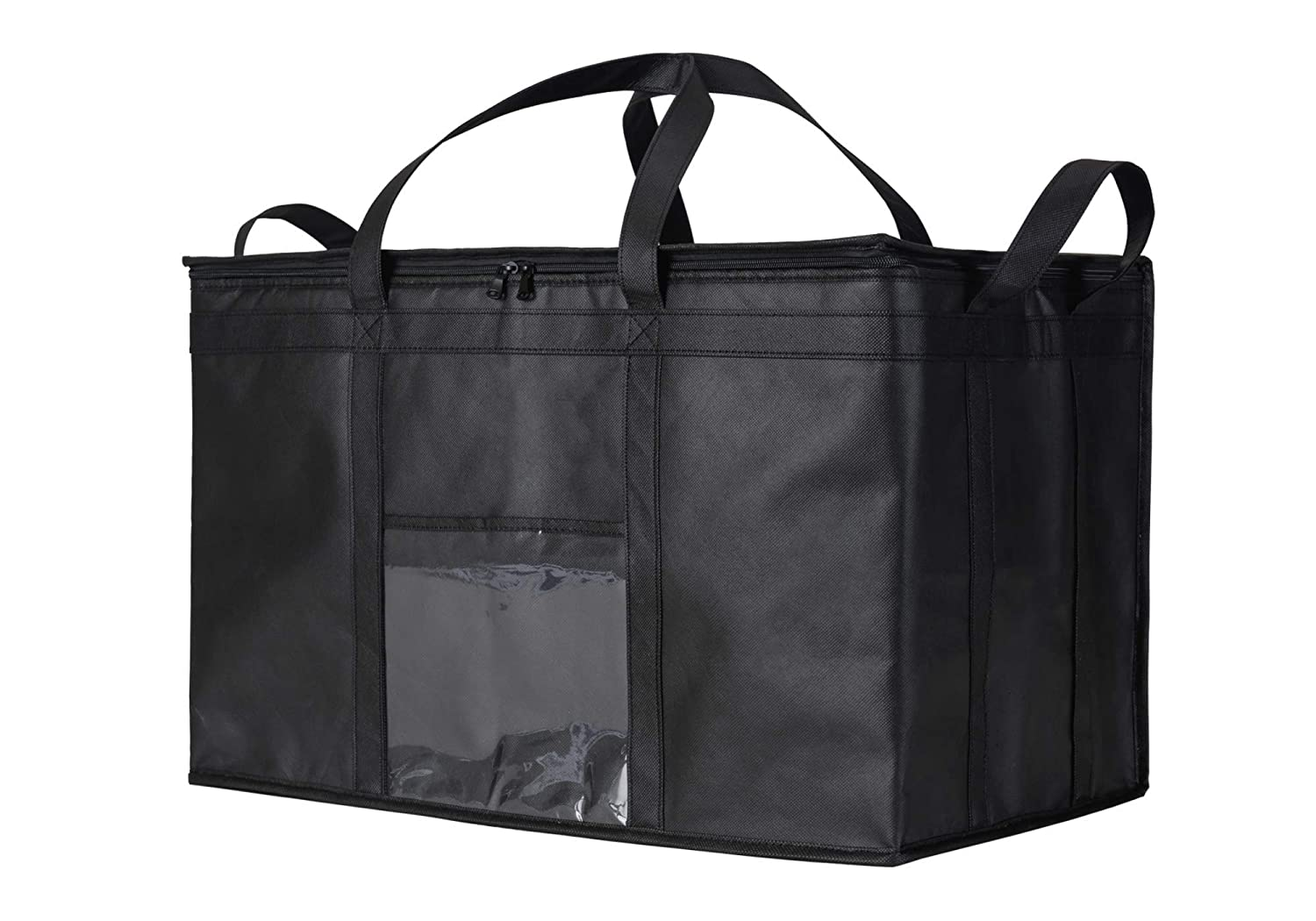NZ Home XXL Food Delivery Bag - Hot & Cold Insulated Soft Cooler - Ideal for Uber Eats, Instacart, Doordash, Grubhub, Postmates, Restaurant, Catering, Grocery Transport - Superb Dual Zipper - Black