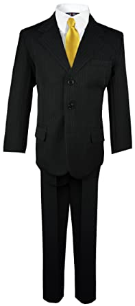 1cd4d66b93ac07 Boys Pinstripe Suit with Matching Tie Size 2-20 (2T, Black with Gold
