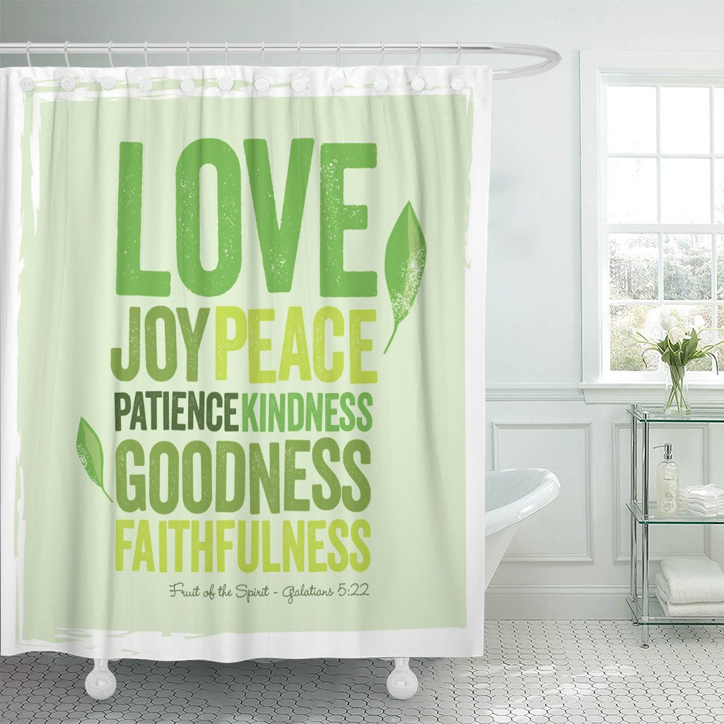 VaryHome Shower Curtain Green Faith Vintage Christian Design ? Fruit of the Spirit Joy Inspire Waterproof Polyester Fabric 72 x 78 Inches Set with Hooks by VaryHome