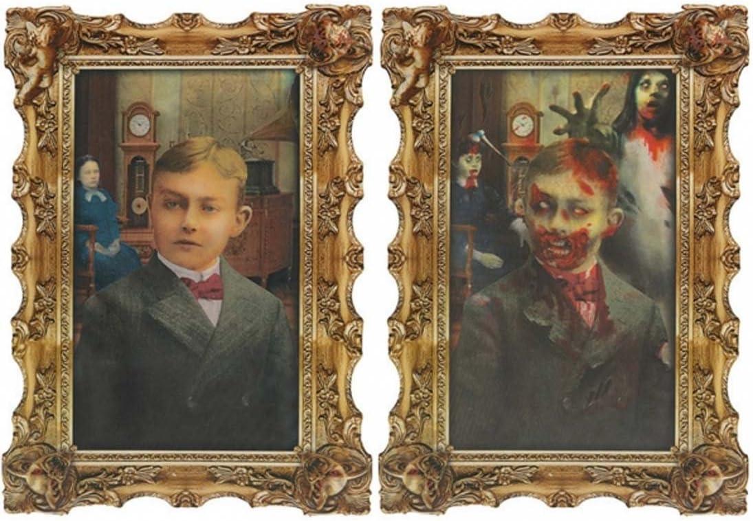 Amakando Retrato podredumbre lenticular Imagen lenticular de Zombie Halloween 45,7 x 30,4cm Decoración terrorífico Lámina lenticular Decorativa de Halloween Lámina Fiesta de Terror Cuadro para Pared
