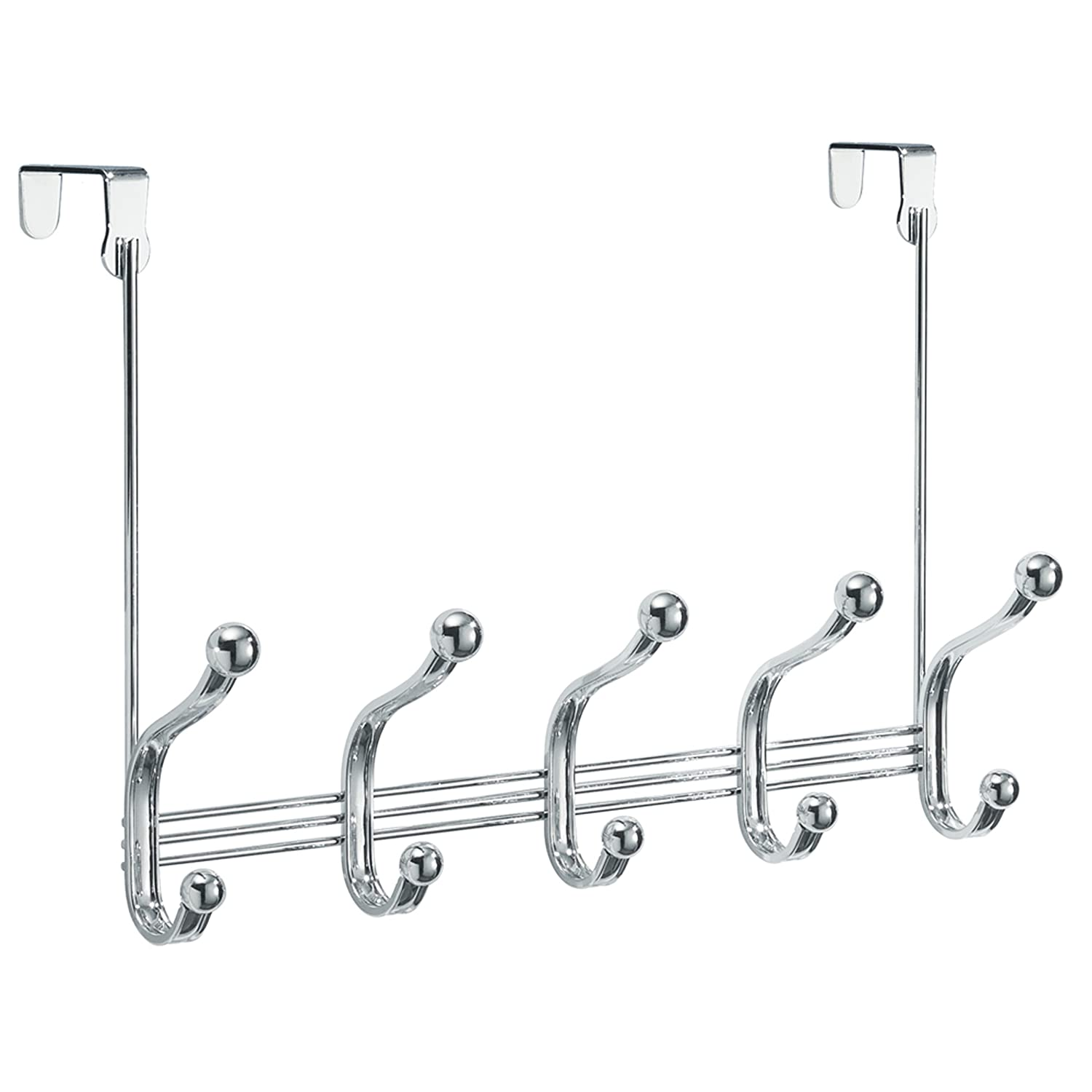 Amazon.com: InterDesign York Lyra Over Door Storage Rack \u2013 Organizer Hooks for Coats Hats Robes Clothes or Towels \u2013 5 Dual Hooks Chrome: Home \u0026 Kitchen
