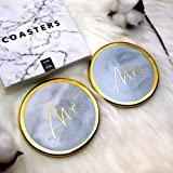 Vilight Mr Mrs Coasters Set - Wedding Engagement Bridal Shower and Couples Anniversary Gift 2018 - Gold & Marble Ceramic Handcraft