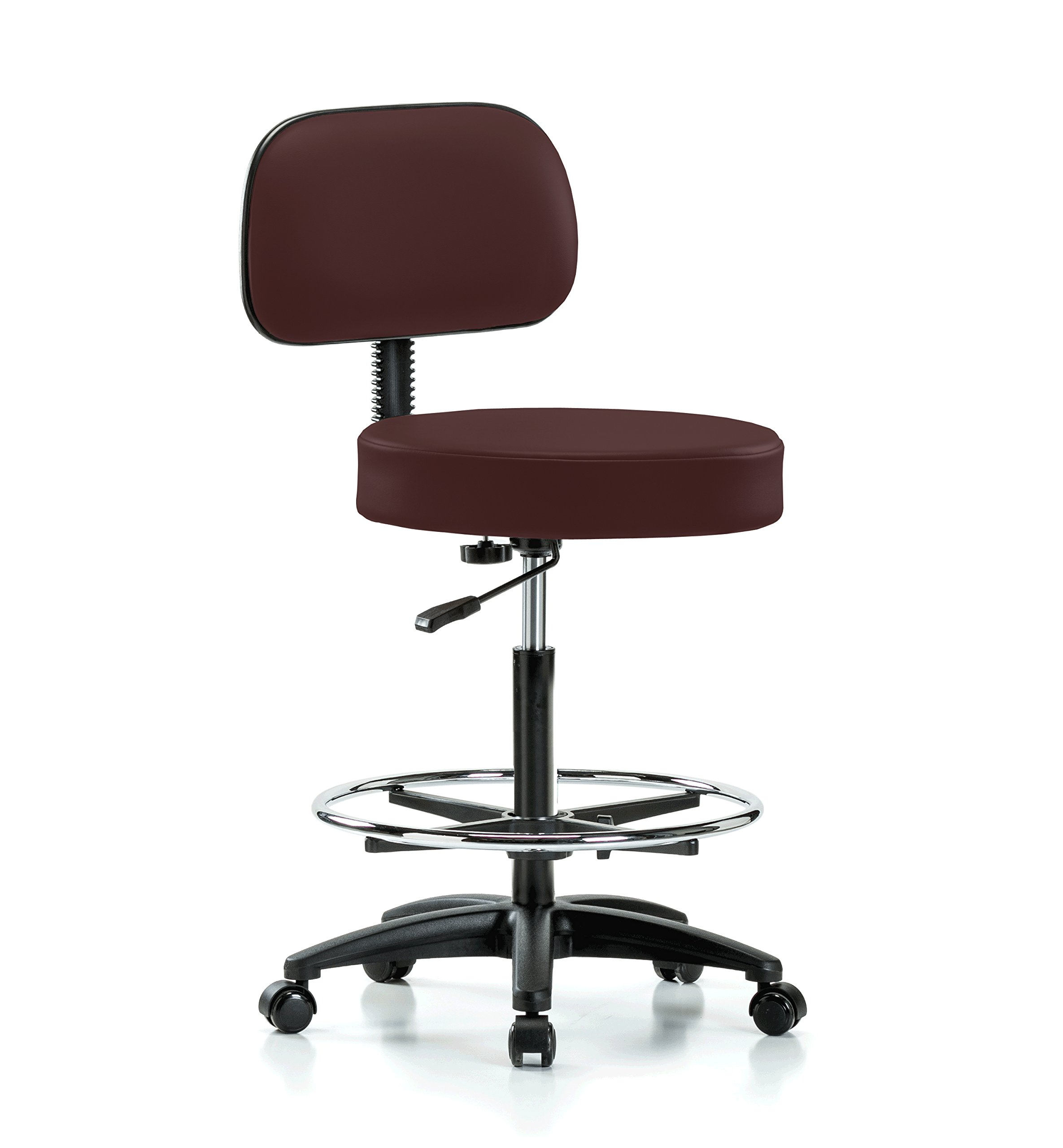Perch Rolling Walter Exam Office Stool with Footring and Adjustable Backrest for Medical Dental Spa Salon Massage Lab or Workshop 25'' - 35'' (Hard Floor Casters/Burgundy Vinyl)