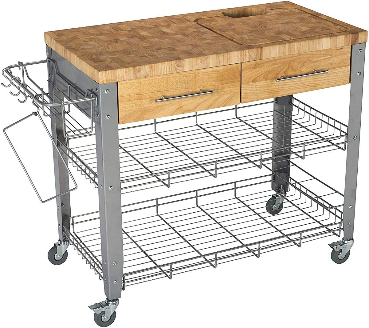 Chris & Chris Rolling Kitchen Island-Food Prep Table-Durable Cutting  Surface, Juice Groove and Collection Pan-8 Storage Drawers, Condiment Rack  and 8