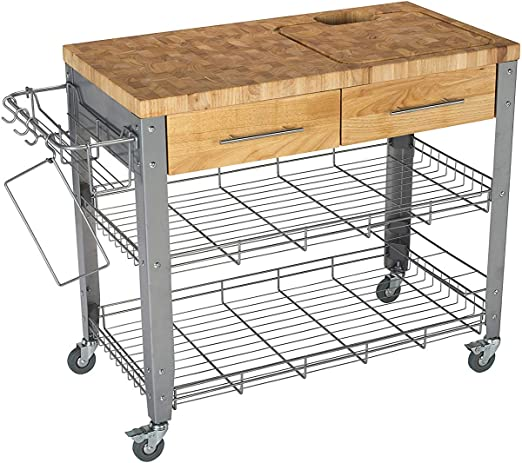 Chris & Chris Rolling Kitchen Island - Food Prep Table - Durable Cutting  Surface, Juice Groove and Collection Pan - 2 Storage Drawers , Condiment  Rack ...