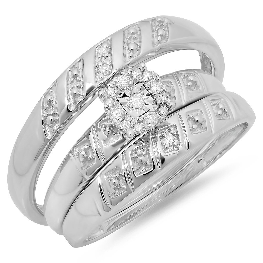 0.10 Carat (ctw) Sterling Silver Round Diamond Men's & Women's Fashion Engagement Ring Trio Set 1/10 CT