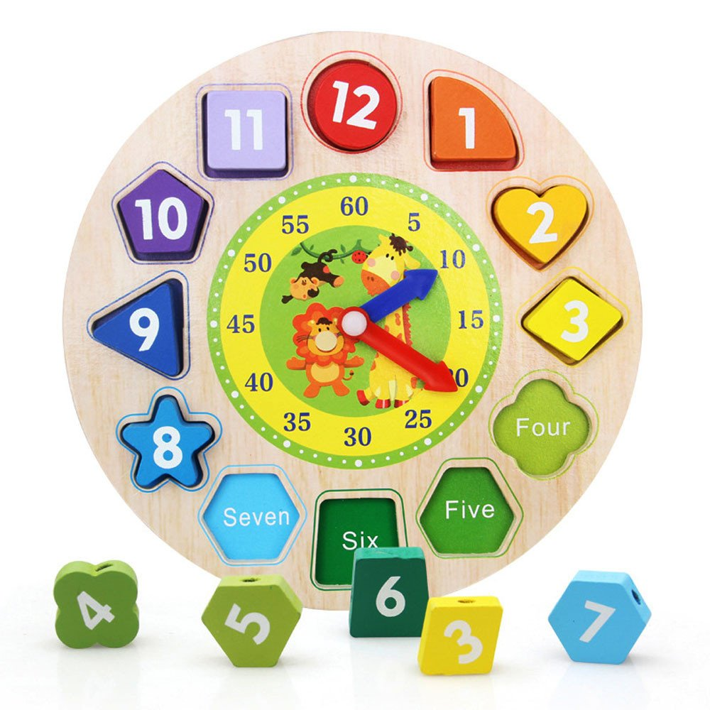 Ghazzi Wooden Toy Digital Geometry Clock DIY Beads Toy Gift Developmental Intelligence Toy for Kids Puzzle Educational Learning Toy Growing Experiment Gift Toy Pretend Toy Toddlers Toy (Multicolor)