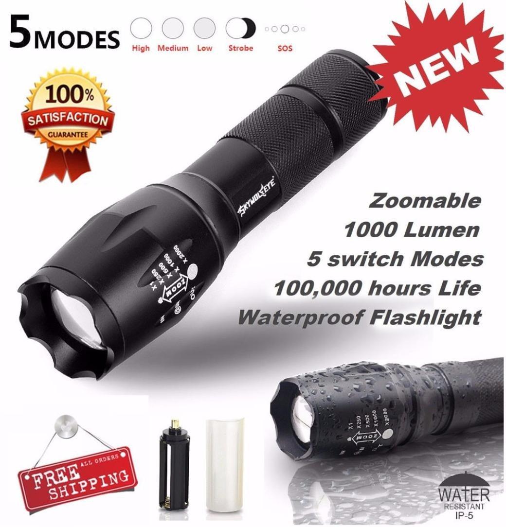 Cebbay Tactical LED Flashlight 5 Modes Zoom Super Bright Military Grade Torch G700 SkyWolfeye X800, 1 x 18650 Battery