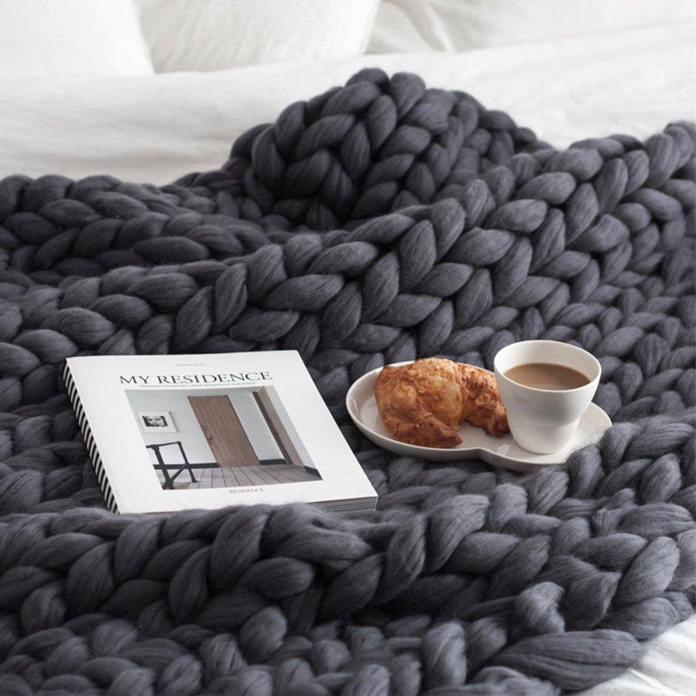 SocoToo Bulky Knit Throw Chunky Sofa Blanket Hand-made Super Large Pet Bed Chair Mat Rug (Dark Grey, 40''x79''(100x200cm))