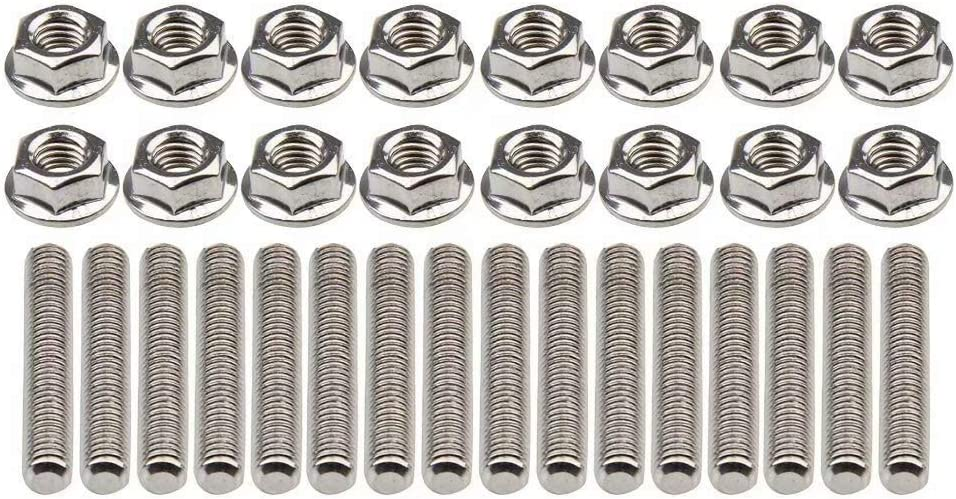 Stainless Exhaust Manifold Stud Nuts kit for Ford 4.6 /& 5.4 Liter V8 2 Manifolds Pack Of 16