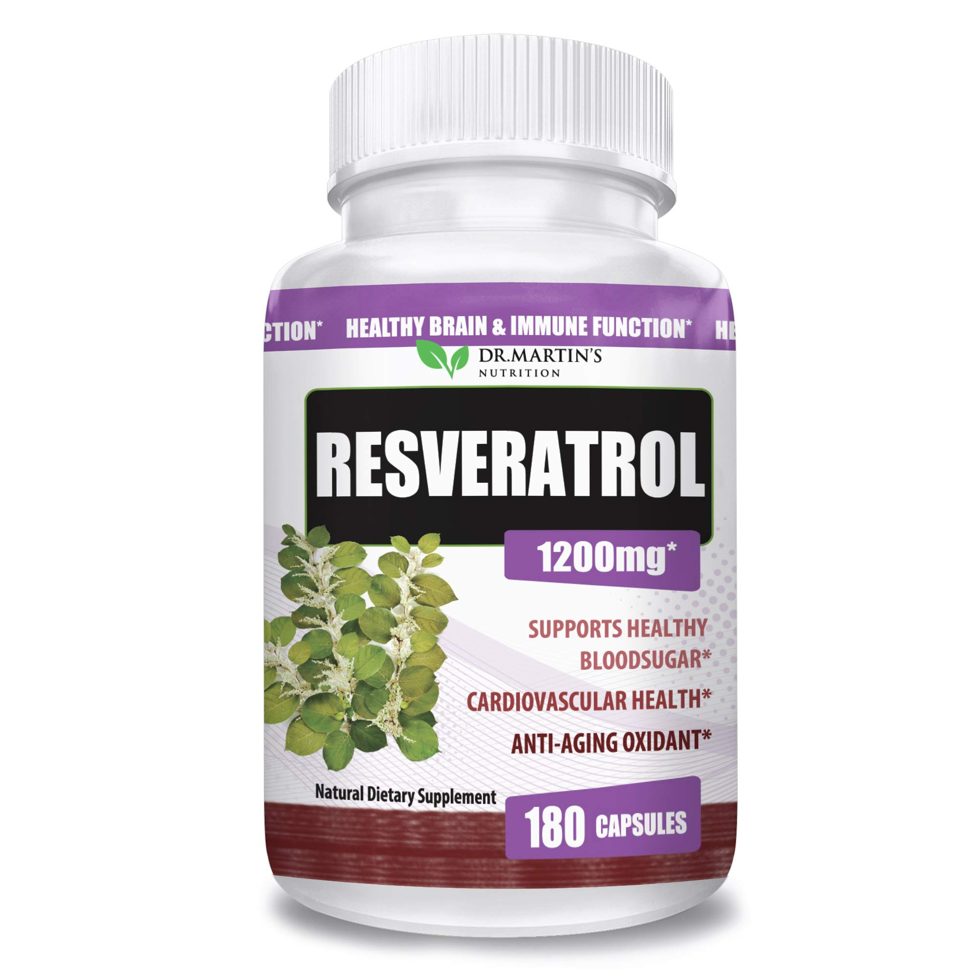 Extra Strength 100% Pure Resveratrol 1200mg - 180 Capsules - 3 Months Supply | Antioxidant Supplement | Natural Trans-Resveratrol Pills | for Anti-Aging, Heart Health, Immune System & Brain Function by DR. MARTIN'S NUTRITION