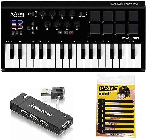 M-Audio Axiom Air Mini 32 USB MIDI teclado + 4 puertos USB 2.0 Hub & Pack de CableTies