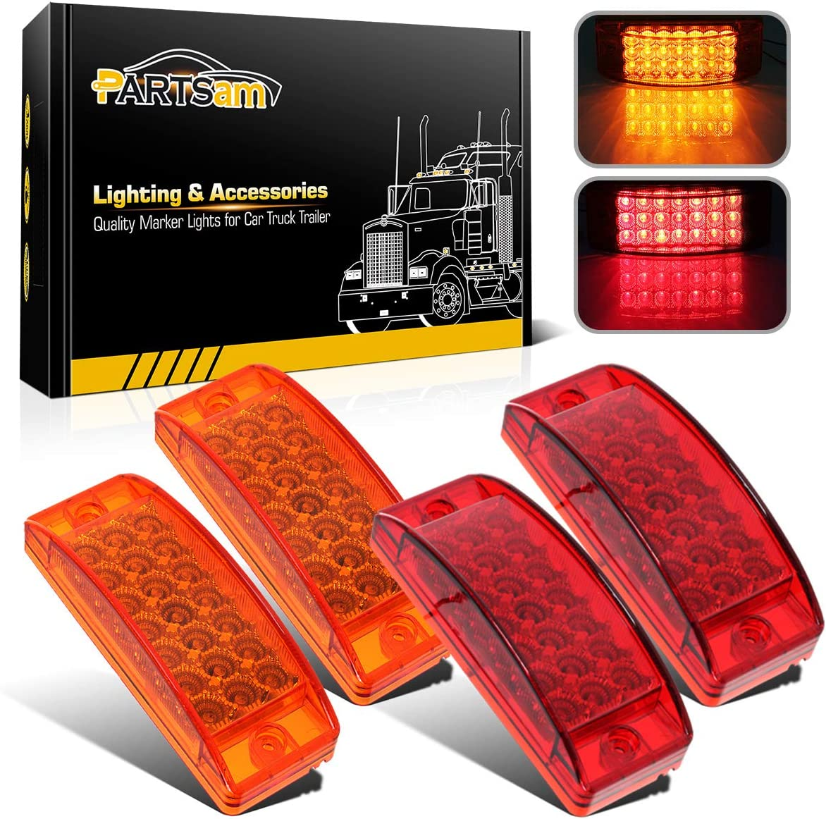 Red Small 2 LED Rectangle Clearance Side Marker Lights Trailer Camper