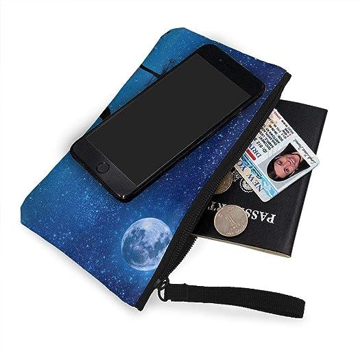 Amazon.com: Wolf Yelp Starry Sky Moon Zipper Canvas Coin ...