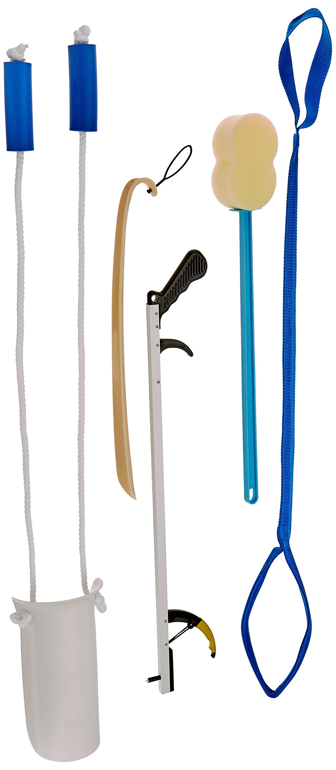 Sammons Preston Hip & Knee Equipment Kit with Assorted Daily Living Tools Including 32'' Reacher, Sock Aid with Handle, Plastic Shoe Horn, Bendable Contoured Handled Sponge, and Rigid Leg Lifter