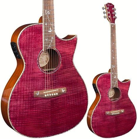 Lindo Dandelion ORG-SL - Guitarra electroacústica fina rosa con mezcla BS5M de micrófono/piezo preamplificador LCD sintonizador y bolsa acolchada: Amazon.es: Instrumentos musicales
