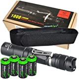 Sunwayman P25C 1000 Lumen CREE LED tactical flashlight with EdisonBright holster and four EdisonBright CR123A Lithium batteries bundle
