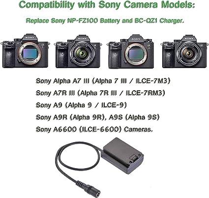 DC-Kuppler Akkuadapter für Sony Alpha A7 A7R III A9 ersetzt Sony NP-FZ100