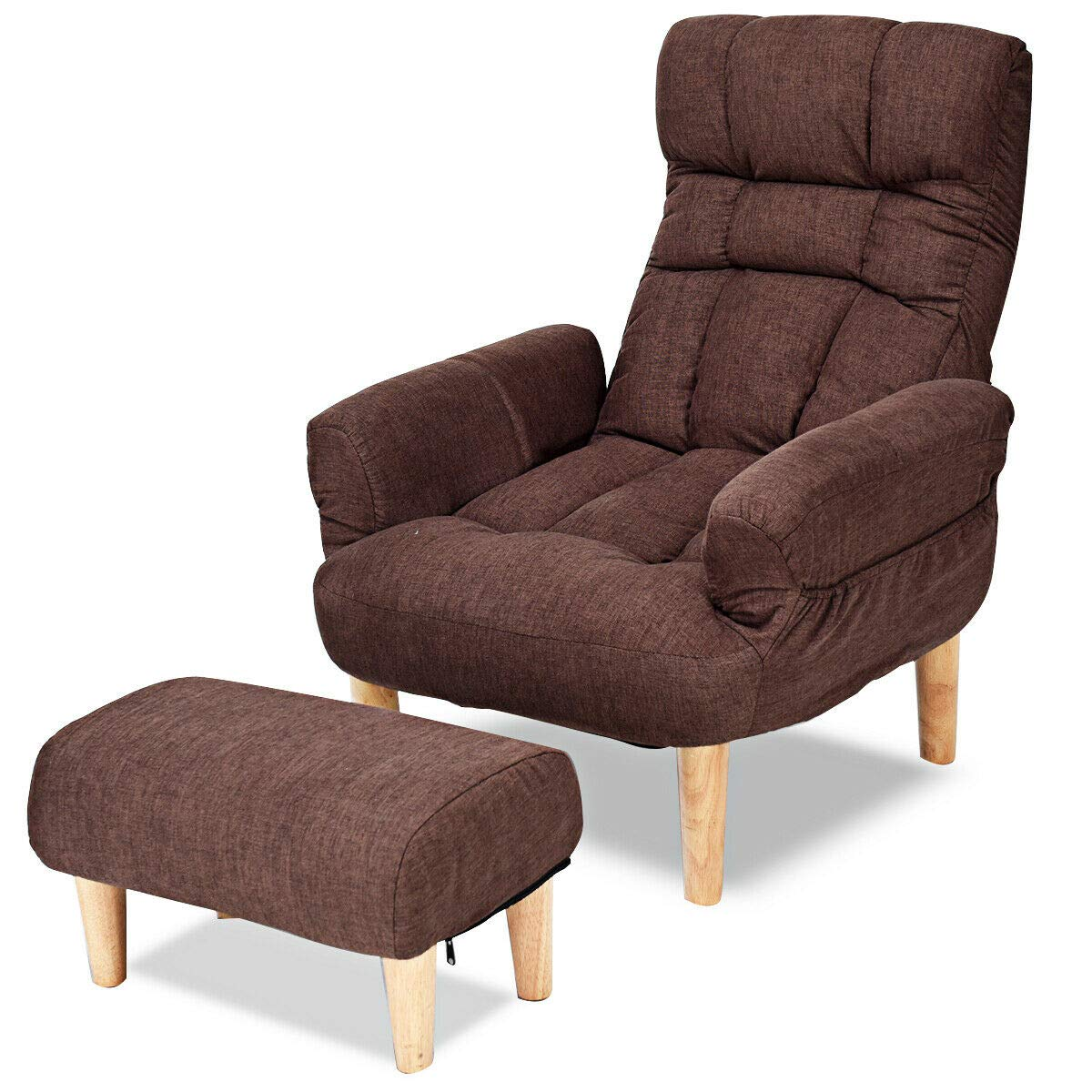 Surprising Giantex Folding Lazy Sofa Chair W Ottoman Thick Padded Linen Lounge Armchair Set Adjustable Backrest Headrest In 10 Position Easy Assembly Single Onthecornerstone Fun Painted Chair Ideas Images Onthecornerstoneorg
