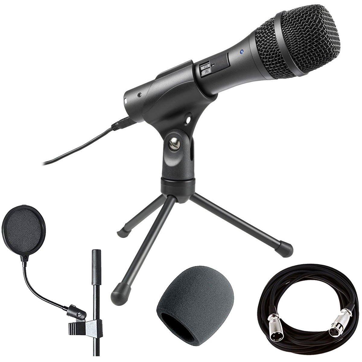 Audio-Technica AT2005USB Cardioid Dynamic USB/XLR Microphone + On Stage XLR Mic Cable + Foam Windscreen, Black & Pop Blocker 4'' + Accessory Bundle by Audio-Technica