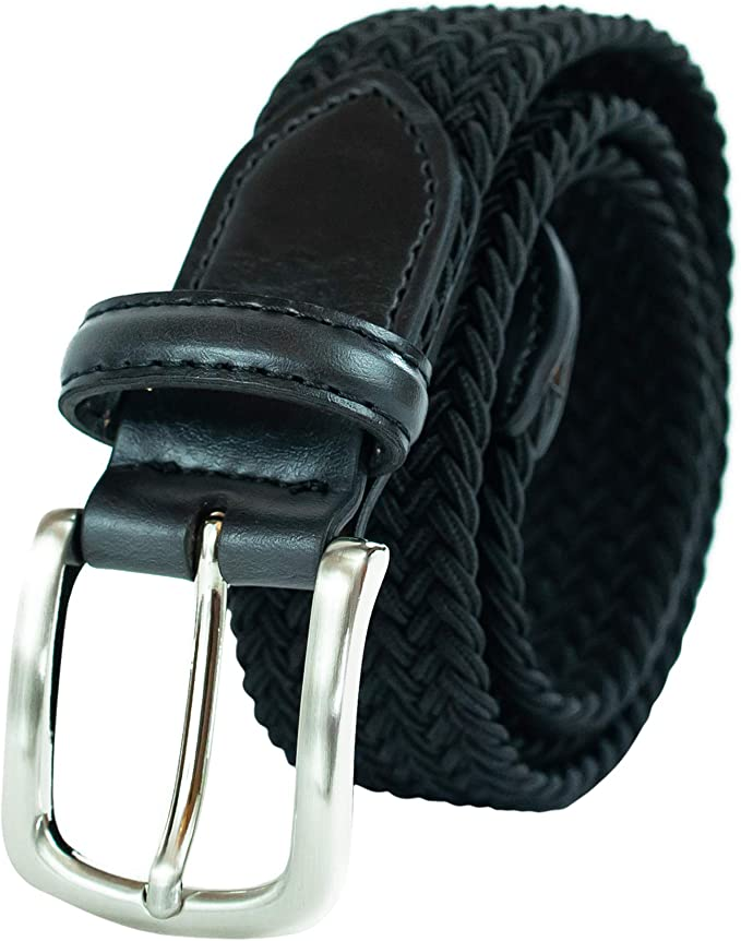 1 Deep Blue Braided Elastic Belts for Men Leather Stretch Fabric Woven Web Belt