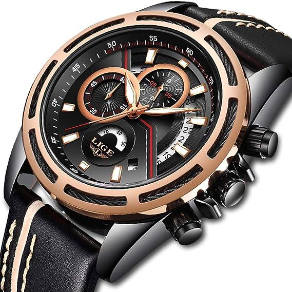 Relojes Hombres Deportes Cuarzo Analógico Cronógrafo Reloj Hombre Marca de Lujo LIGE Moda Cronómetro Fecha Reloj de Cuero Correa de Cuero Negro: Amazon.es: ...