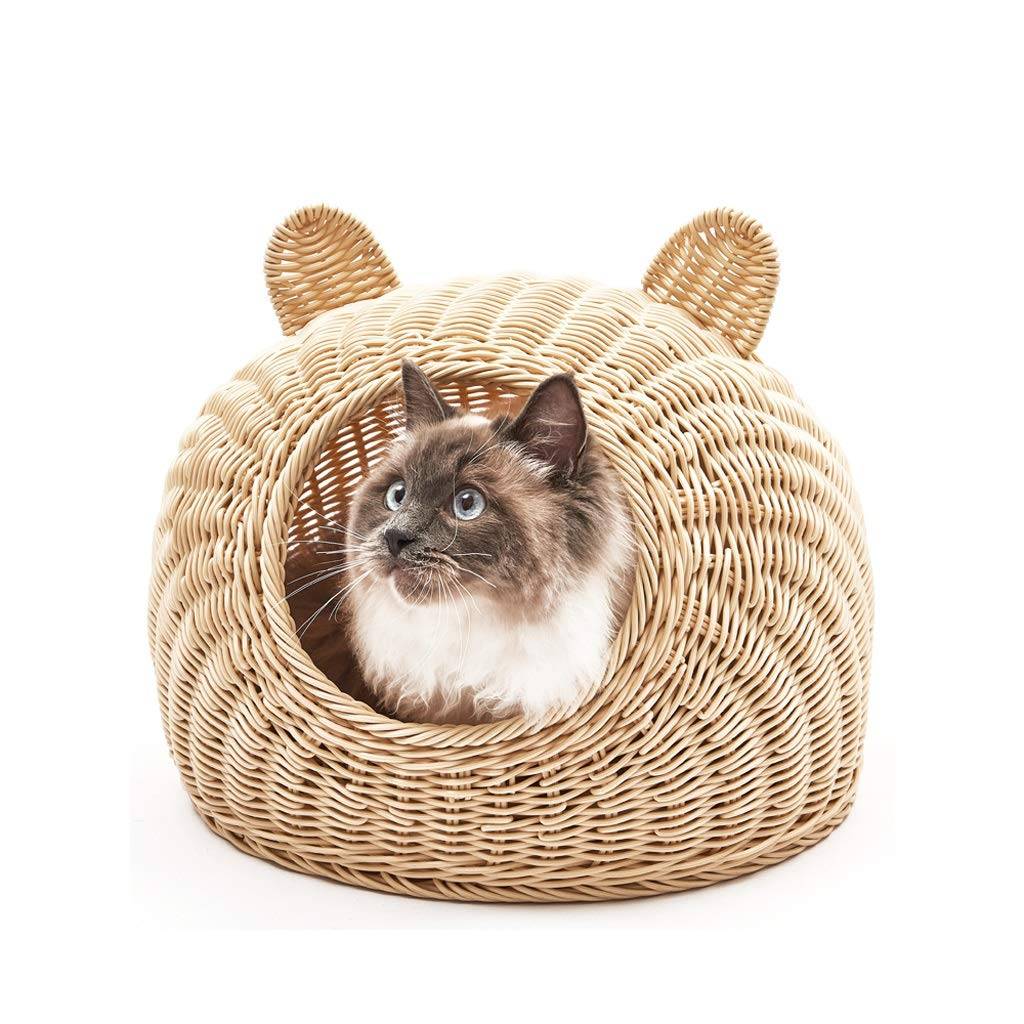Beige M(42 × 30cm) Beige M(42 × 30cm) FH Pet Nest, Closed And Easy To Clean Young Dog Hand-woven Pet Nest, Three colors Optional (color   Beige, Size   M(42 × 30cm))