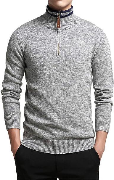 Suéter de algodón Hombre Ropa de Manga Larga Suéteres de Cuello Alto para  Hombre Cremallera sólida Ajuste Tejido Ropa Casual: Amazon.es: Ropa y  accesorios
