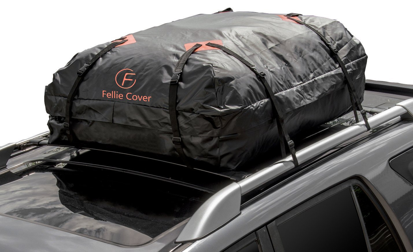 F Fellie Cover Car Cargo Bag Waterproof Roof Carrier Bag with Heavy Duty Wide Straps Buckles for Car SUV Jeep (16 Cubic Feet Capacity)