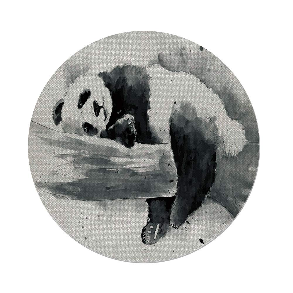 Cotton Linen Round Tablecloth,Panda,Panda Lying on a Tree Branch Classic Asian Watercolor Painting Style Artwork Print,Black White,Dining Room Kitchen Table Cloth Cover
