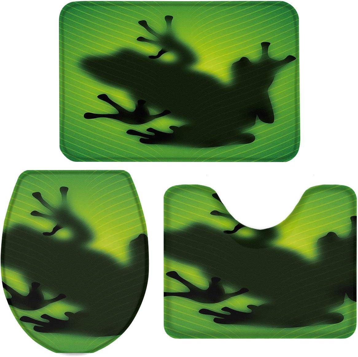 Possta Decor Frog Shadow Leaf Silhouette Bath Mat 3 Piece Set Non-Slip Bathroom Rugs Absorbent Floor Doormats Soft U-Shaped Toilet Lid Cover Contour Rug