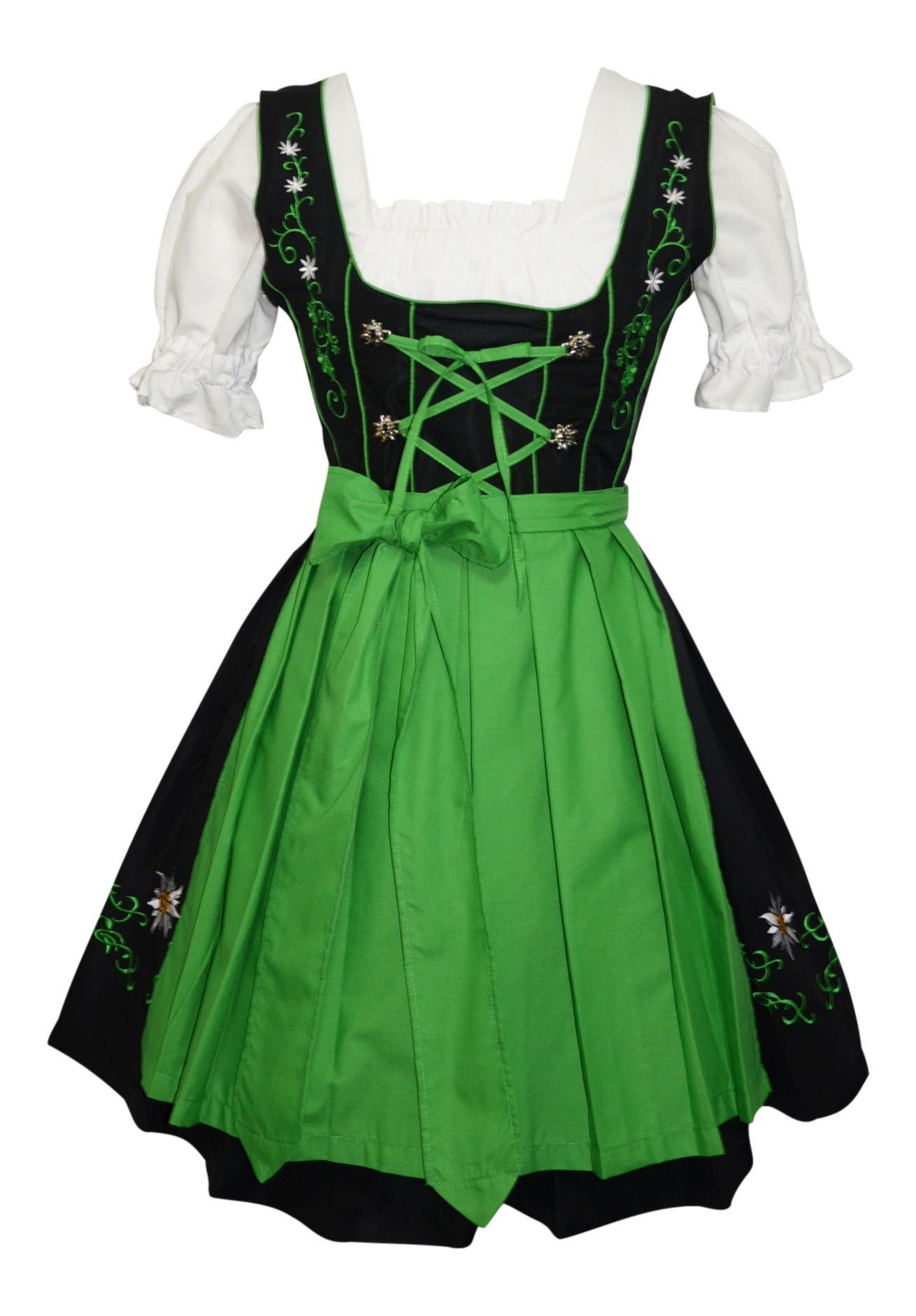 3-piece Short German Party Oktoberfest Dirndl Dress Black & Green (16)