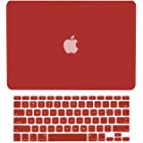 "TOP CASE - 2 in 1 Rubberized Hard Case and Keyboard Cover Compatible with Apple Old Generation MacBook Pro 13"" with DVD Drive/CD-ROM - NOT Compatible with MacBook Pro 13"" Retina - Wine Red"