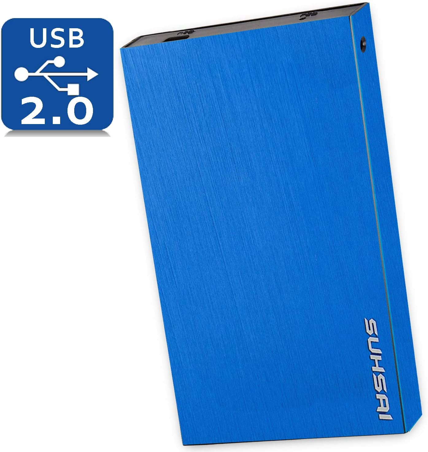 Suhsai Portable External Hard Drive, 2.0 USB External HDD Compatible for Computer, Laptop, PC, Smart TV, Mac (Blue, 250GB)