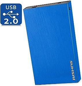 Suhsai Portable External Hard Drive, 2.0 USB External HDD Compatible for Computer, Laptop, PC, Smart TV, Mac (Blue, 200GB)