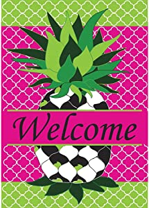 Magnolia Garden Whimsy Quatrefoil Pineapple Friendship 42 x 29 Rectangular Double Applique Large House Flag