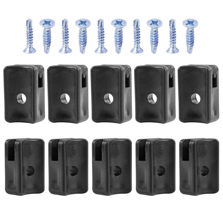 30 st Bohrschrauben Schwarz Kunststoff Spanndrahthalter mit Schraube PVC mit V2A Spange inkl