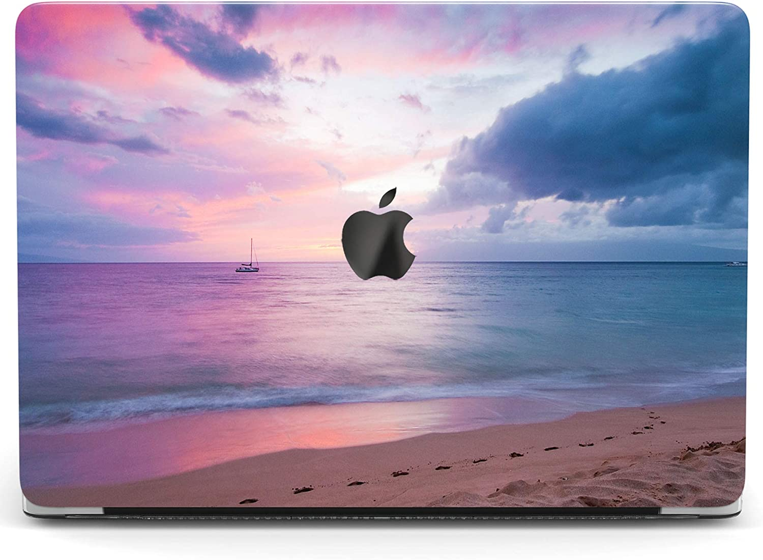 Wonder Wild Case for MacBook Air 13 inch Pro 15 2019 2018 Retina 12 11 Apple Hard Mac Protective Cover Touch Bar 2017 2016 2020 Plastic Laptop Print Colored Sunset Beach Ocean Pink Seaside Sky Purple