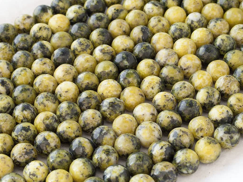 Beads Ok, Abalorios Cuentas Piedra Semipreciosa Turquesa Amarillo Naturales Esferas Bola Redonda 4mm, Cerca de 38cm un Tira, Vendido por Tira. 4mm Round Natural Yellow Turquoise Gemstone Beads