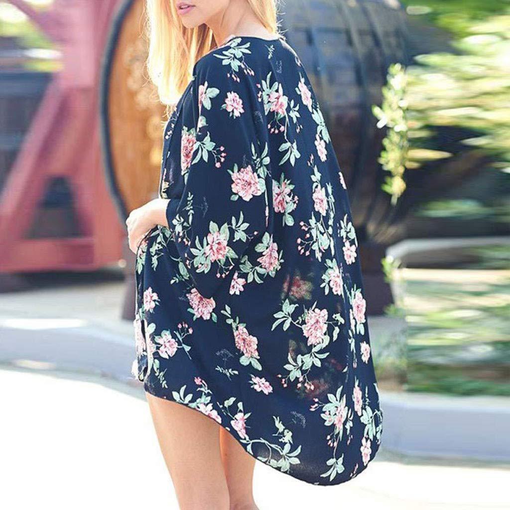 Ghazzi Kimono Cardigans Womens Cardigan-Sheer Kimono Loose Summer Floral Print Cover Ups