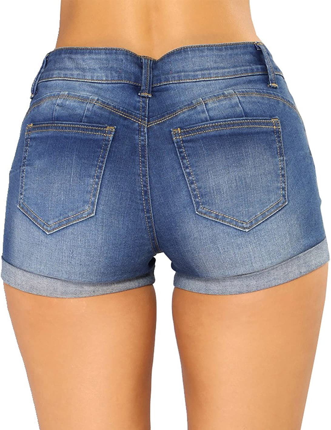 Govc Women Casual Summer Mid Waist Stretchy Denim Jean Shorts Junior Short Jeans
