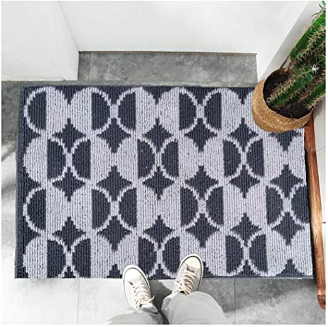 Indoor Doormat Welcome Door Mat 20 X32 Entryway Entrance Rug Small Modern Low Profile Thin Inside Front Door Mat With Rubber Backing Grey Dots Kitchen Dining