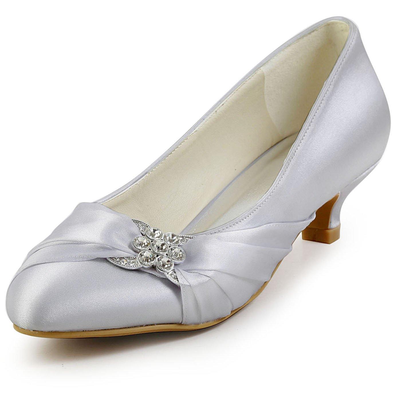 ElegantPark EP2006L Women Comfort Heel Closed Toe Rhinestone Satin Bridal Wedding Shoes Silver US 7 by ElegantPark