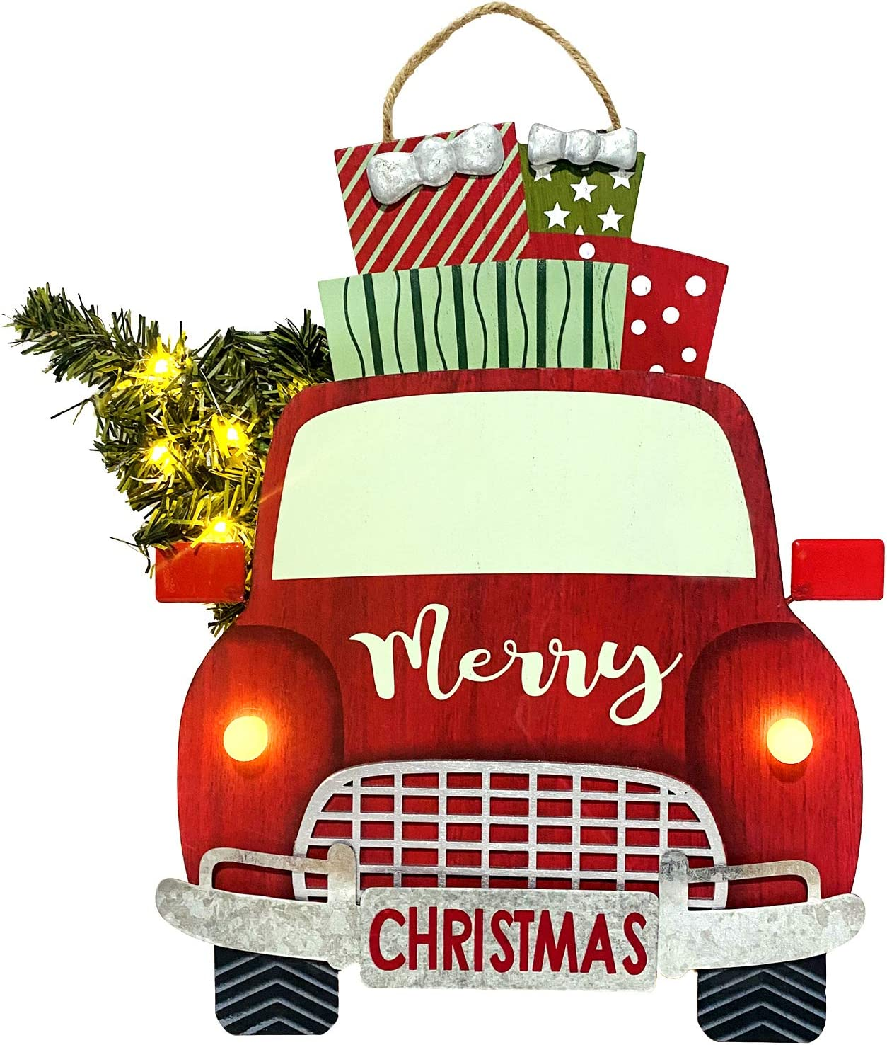 HOMirable Christmas Red Truck Sign with Christmas Trees, Merry Christmas LED Lighted Decor, Home Holiday Farmhouse Ornament, Vintage Rustic Wood Wall Hanging Door Decorations Yard Wall Art Plaque Gift